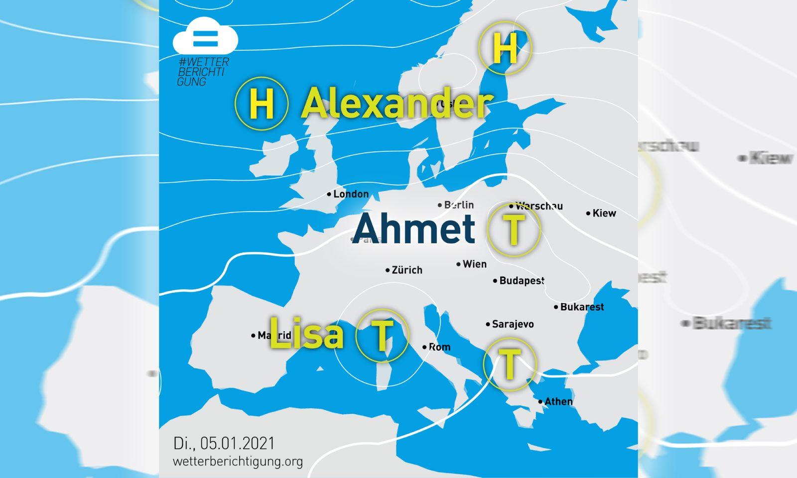 "Wetterkarte mit Tief ""Ahmet"""