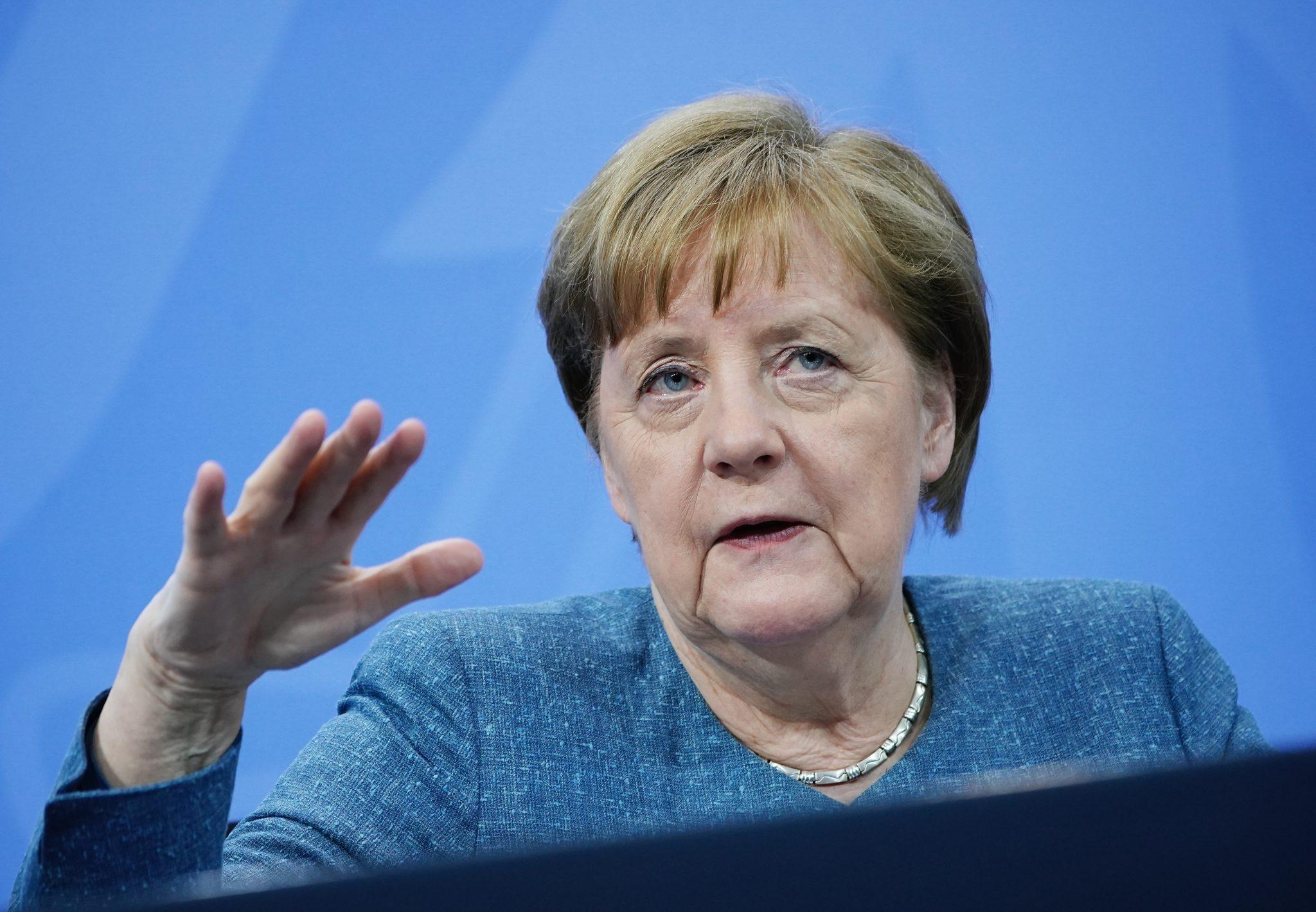 Bundeskanzlerin Angela Merkel (CDU) auf Pressekonferenz beim Impfgipfel