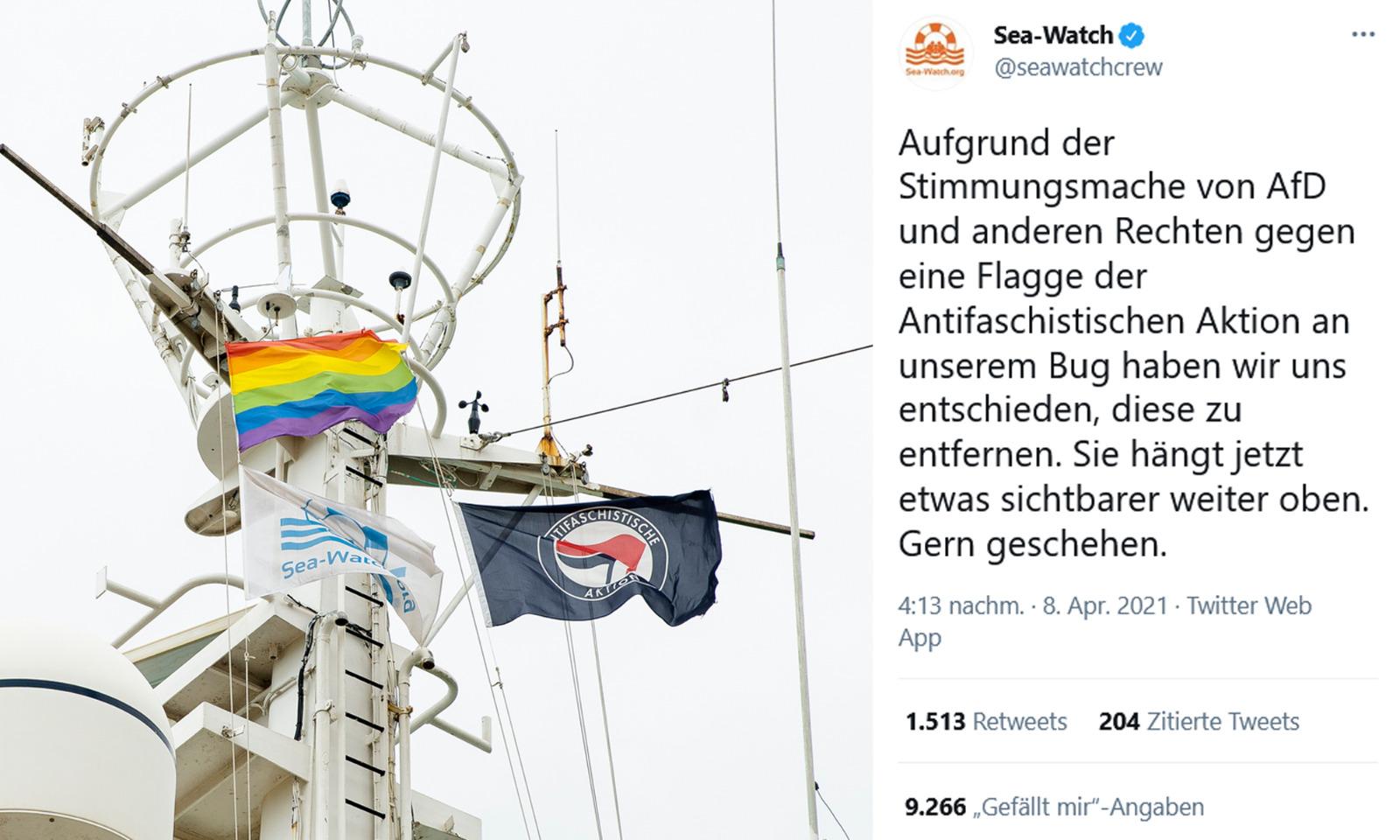 "Am Mast des Flüchtlingsschiffs ""Sea-Watch 4"" weht die ""Antifa""-Flagge Foto: Twitter-Screenshot JF"